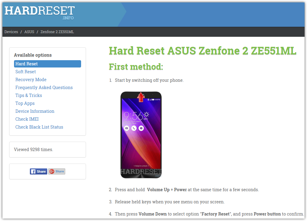 ASUS Zenfone 2 ZE551ML - how to hard reset my phone - HardReset.info