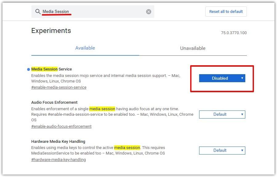 Как отключить мультимедийные клавиши в Chrome